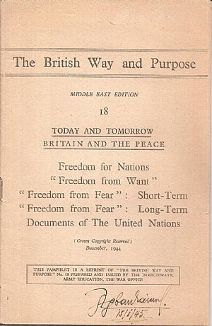 THE  BRITISH WAY AND PURPOSE. Middle East Edition -18-. Today and tomorrow Britain and the peace